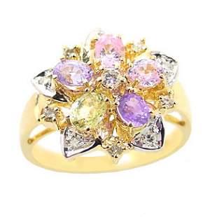 1.50ct Rainbow sapphire .15diamond ring