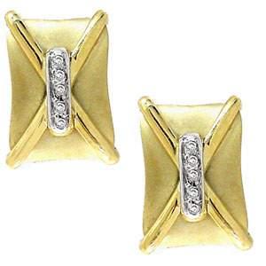Diamond Satin square buckle stud earring