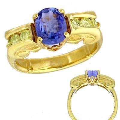 2050: 14KY 1.95ct Cornflower Blue Sapphire .50dia ionic