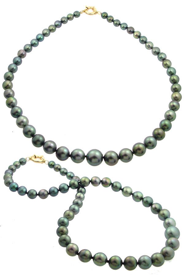 2100: 14YG 8/12.7mm Tahitian 47 pearl 20 necklace