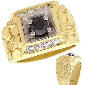 2105: 14KY .91cttw Black & White Diamond Mans Ring