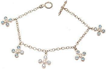 3300: SSilver Blue White CZ Snowflake Dangle Bracelet