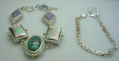 3301: SSilver 1PC Multi Gemstone 2 Bracelet & ring Set