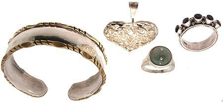 3302: SSilver 4PC Woven Neck Ring Bracelet Set 37.2gm
