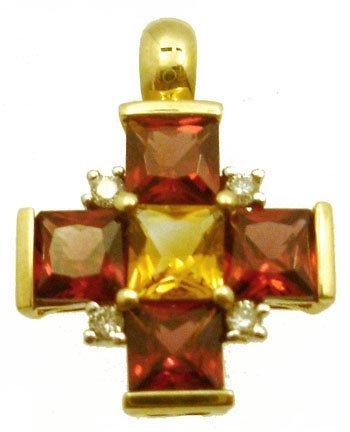 3303: 10KY 1.60ct Garnet Citrine Dimaond Cross Pendant
