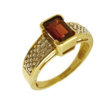 3304: 10KY 1.30ct Garnet E-cut Diamond Band Ring