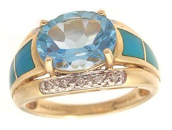 3308: 14ky 3ct Blue Topaz Oval Turq. Inlay Side Set Rin