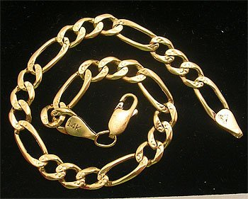 3312: 14KY 5mm Figaro Bracelet 9gm