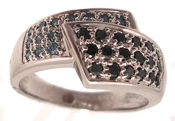 3314: 14KW .50cttw Black Blue Diamond Pave Bypass Ring