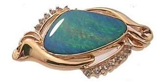 3379: 14ky Boulder Opal Doublet .39ctw White Sapphire B