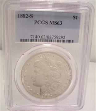 1882 S Morgan Silver Dollar Coin MS63 PCGC