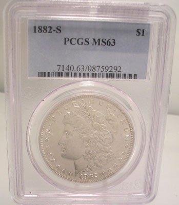 2306: 1882 S Morgan Silver Dollar Coin MS63 PCGC