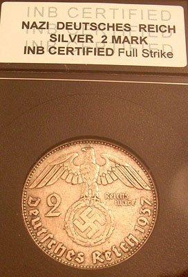 2308: Silver 2 Reichsmark Nazi Coin 1937 INB Cert