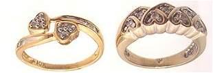 2PC 14KW .14ctw Diamond 10KY Diamond Heart Ring