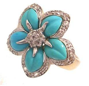 14Ky Turquoise CZ Estate Flower Ring