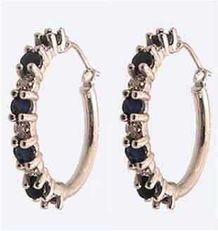 10kw .60ctw Sapphire Round Diamond Hoop Earrings