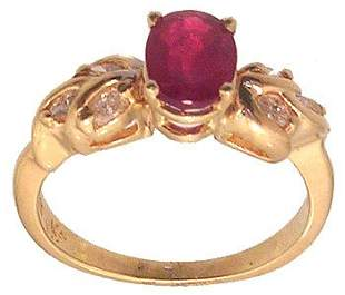 14ky 1.16ct Ruby Oval .33ctw Diamond Marquise Rin