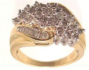 10KY 1cttw Diamond Bag/Rd Cluster Channel Ring