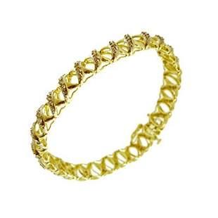 10KY 1cttw Diamond Rd Pave X Weaving Bracelet 15.