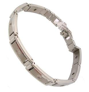 10KW .20cttw Diamonds Stainless Steel Mens Bracel
