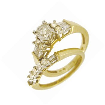 2466: 14KY 1cttw Dia Oval/rd/bag Invisible Wedding Set