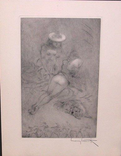3199E: Signed Louis Icart Etching with Remarque 1949