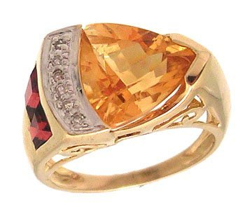 3103: 14ky 3ct Citrine Trillion Garnet Diamond Designer