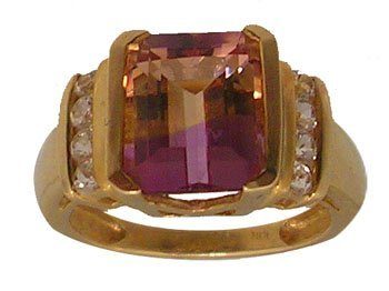 3104: 10ky 3.10ct Ametrine Emerald Cut White Topaz Ring