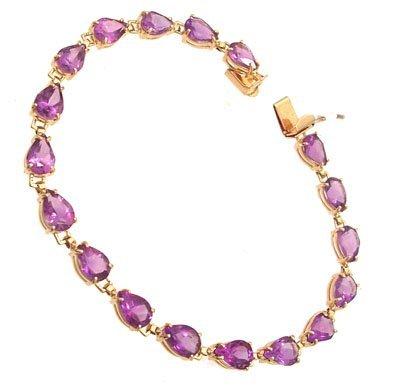3106: 14KY 11.65cttw Amethyst Pear Line Bracelet