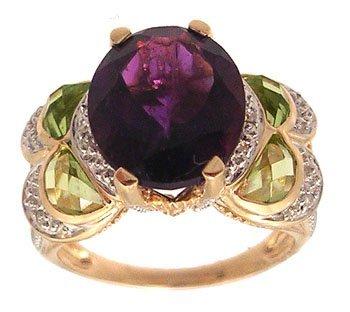 3107: 14KY 4.35ct Amethyst Oval Peridot Diamond Ring
