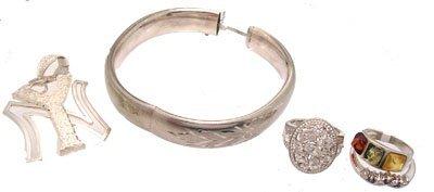 3108: SSilver 5PC Multi Gemstone Ring Bracelet Set 45gm