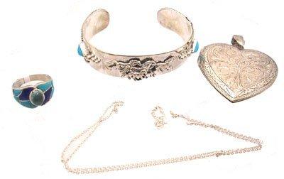 3109: SSilver 4PC Turquoise Neck Ring Bracelet Set Lot