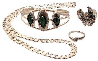 3110: SSilver 4PC Malachite Neck Ring Bracelet Lot 84gm