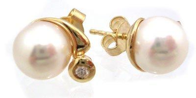3116: 14KY 8mm White AKOYA Pearl Diamond Rd Earring