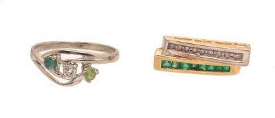 3117: 2PC 14KW Diamond Emerald Peridot Ring 10KY Pendan
