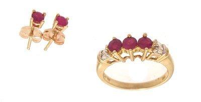 3118: 10ky .75ctw Ruby Round Diamond Earring Ring Set