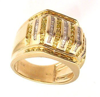 3123: 10KY 1cttw Yellow White Diamond Ribbed Mens Ring