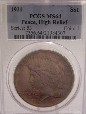 3155: 1921-P Morgan Silver Peace Dollar High Relief PCG