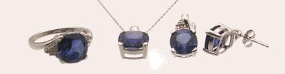 4104: 10KW 5ct Created Tanz Cushion Pendant/Earring/Rin