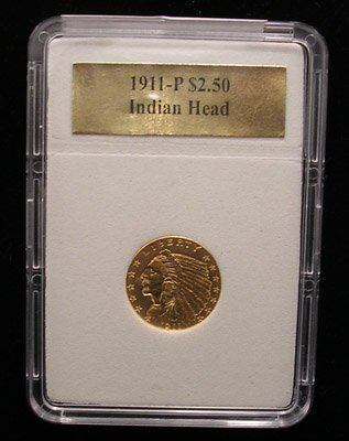 4110: 22KY 1911-P $2.50 Indian Head Gold Coin