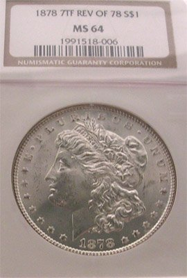 4165A: 1878-P 7 Feathers Morgan Silver One Dollar NGC/M