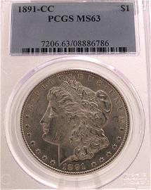 4167: 1891-CC Morgan Silver Dollar Coin MS63/PCGS Certi
