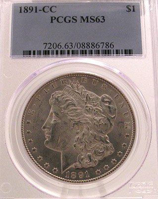 4167: 1891-CC Morgan Silver Dollar Coin MS63/PCGS Certi