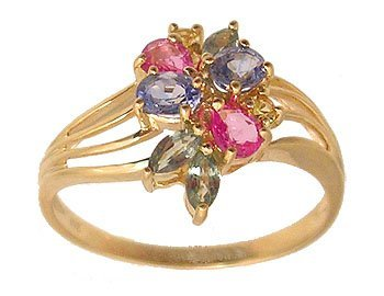 4301: 10ky 2ctw Multicolor Sapphire Floral Ring