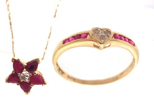 4319: 2 PC 10KY Ruby Pear Diamond NecklaceRing Set