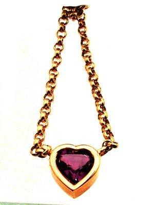 5100: 14ky 7.5x8mm Amethyst Heart Bezel Set Necklace