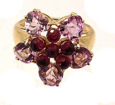 5101: 10ky Amethyst Heart Rhodolite Briollet Flower Rin