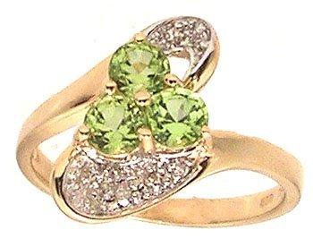 5103: 14ky .87ctw Peridot Rd Diamond Designer Ring
