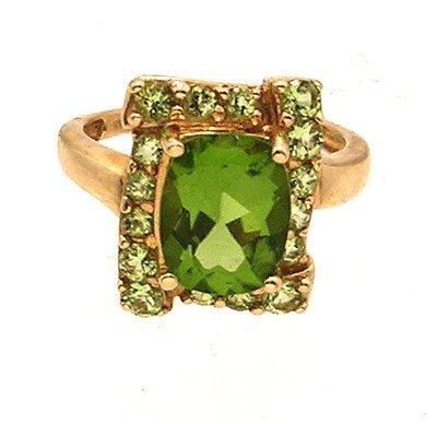 5105: 14ky 4ctw Peridot Cushion Round Designer Ring