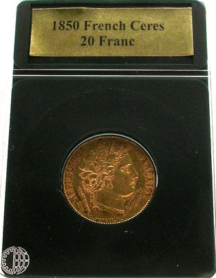 5110: 22KY 1850 French Ceres 20 Franc Coin